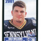 DALE WILLIAMS 2001 Big 33 Pennsylvania PA card PITT Panthers OL / DL