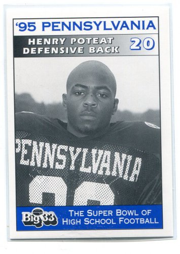 HENRY HANK POTEAT 1995 Big 33 Pennsylvania PA High School card PITT PANTHERS Steelers