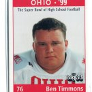 BEN TIMMONS 1998 Big 33 Ohio OH High School card WEST VIRGINIA Mountaineers