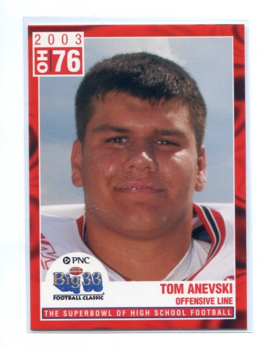 TOM ANEVSKI 2003 Big 33 Ohio OH High School card BOSTON COLLEGE