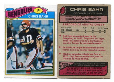 CHRIS BAHR 1977 Topps Mexican RARE #311 ROOKIE Penn State Nittany Lions BROWNS