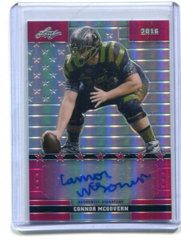CONNOR McGOVERN 2016 Leaf Army All-American AUTO Flag Etch PINK PRISMATIC Penn State #d 1/7