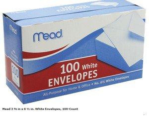 Plain Letter  Mailing Envelopes Standard Mead Business Office 100pk No. 6