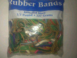 assorted rubber bands 1/2 pound 227 grams colored rubber bands
