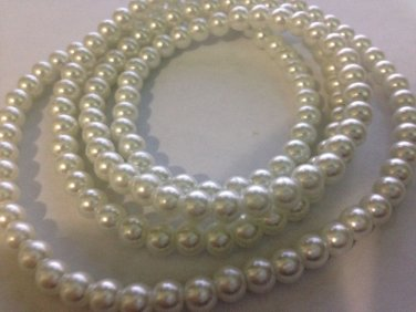 White Colorful Round Beads 155 Pcs New