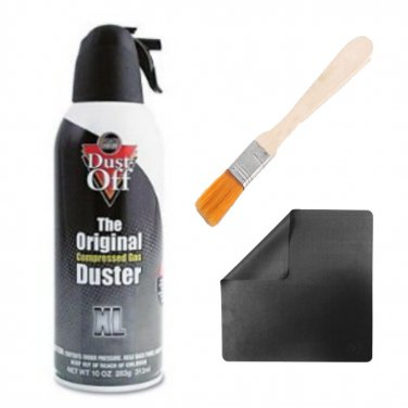 Dust Off Cleaning Spray Compressed Air + Wooden Keyboard Cleaning Brush and Microfiber Cloth