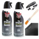 2X Dust Off Compressed Air Bottler + USB Cleaning Brush & Wooden Brush Kit + Microfiber Cloth