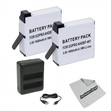 Charger and Replacement Batteries for GoPro Hero 4