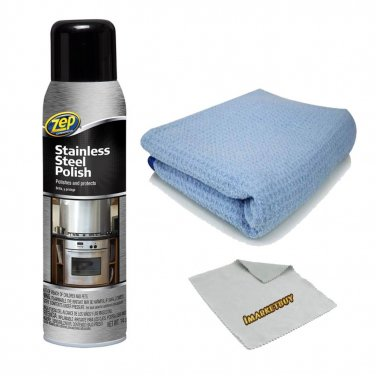 Zep Stainless Steel Cleaner With Microfiber Cleaning Cloth