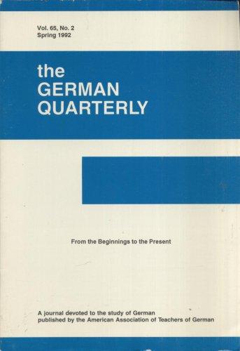 THE GERMAN QUARTERLY--VOL. 65, NO. 2--SPRING, 1992