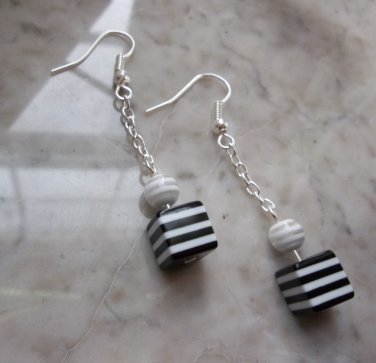 Black and white striped silvertone dangle chain earrings