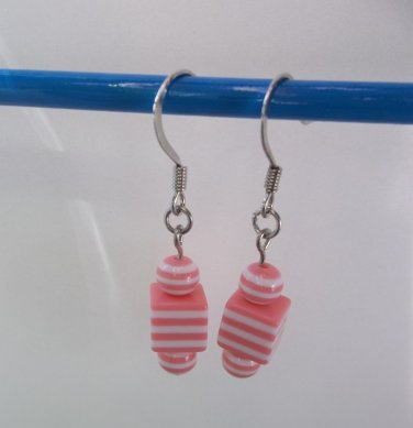 Pink and white small striped cube bead silvertone beaded dangle earrings