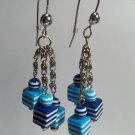 Blue and white striped cube dangle earrings