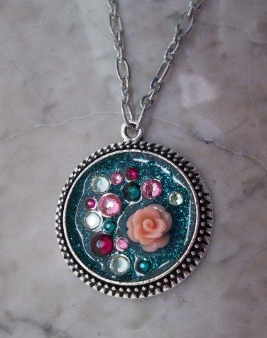 Teal glittery pendant necklace round silvertone rose Swarovski crystal sparkly resin