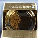 Black & Gold Gilded Noel Salad Plates
