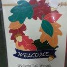 Welcome Fall Wreath Decorative Applique Flag
