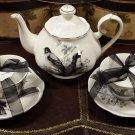 Grace Teaware Black & White Birds Teapot & Teacups Set