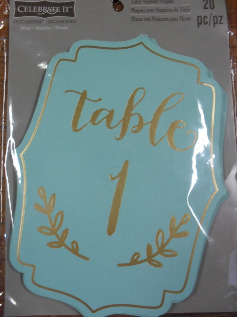 celebrate it table number tents gold foil on mint color