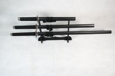 Set of 3 Solid Black Samurai Swords on Stand