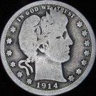 1914-D VG08 Barber Silver Quarter