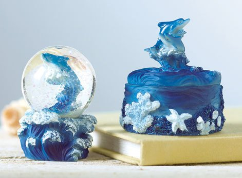 Dolphin Trinket Box & Snow Globe Set - BBsg