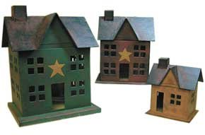 Papier Mache House Set - Lighted - GAM7213L