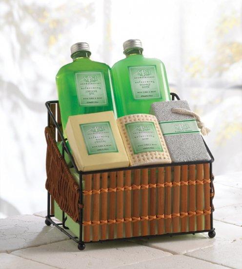 Spa Lime & Mint Set In Basket - MM36385