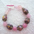 Pink & Grey Lampwork Bracelet - TTpg