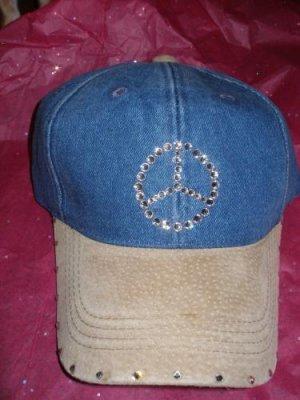 Baseball Cap - Faux Leather/Peace - JGflp