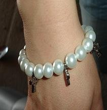 SALE! Pearl Bracelet with Silver Cross Charm - CGpb