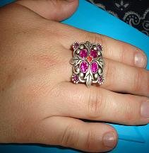 SALE! Silver Tone Pink Crystal Ring - CGsr
