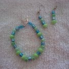 Blue & Green glass bead Bracelet & Earring Set- TTbg