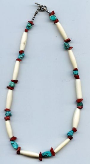 Bone and Turquoise Choker- EAbt