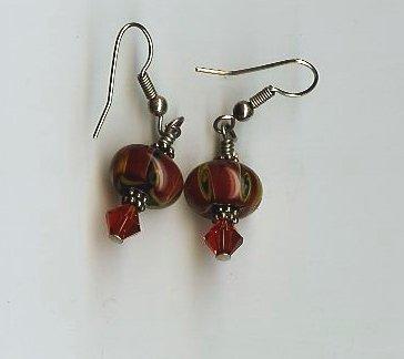 Deep Red Bead Earrings- EAdr
