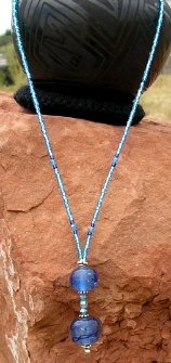 Blue Glow Bead Necklace - EAbgn
