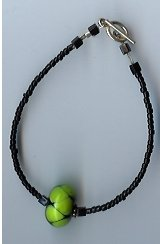 Black & Lime Green Glass Bead Bracelet- EAbl