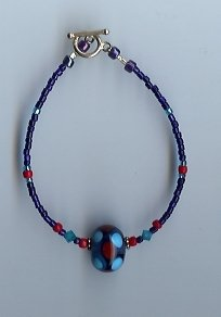 Cobalt Blue & Red Glass Bead Bracelet- EAbr