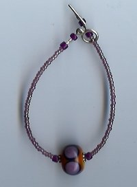 Purple & Mustard Glass Bead Bracelet-EApm
