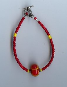 Red & Yellow Glass Bead Bracelet- EAry