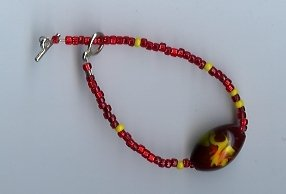 Red & Yellow Glass Bead Bracelet- EAyr
