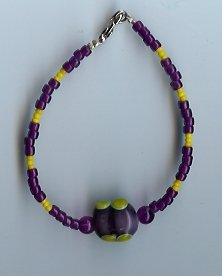 Purple & Yellow Glass Bead Bracelet-EApy