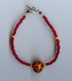 Red & Yellow Glass Bead Bracelet- EAcr
