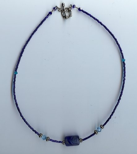 Deep Blue Glow Bead Necklace- EAdb