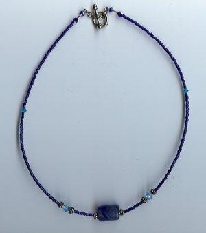Deep Blue Glow Bead Necklace- EAdb