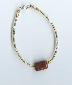 Gold Glass Bead Bracelet- EAgb