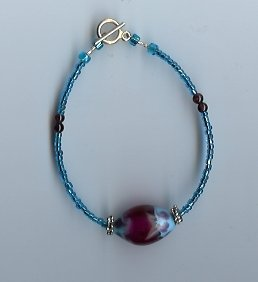 Light Blue & Red Glass Bead Bracelet- EAlb