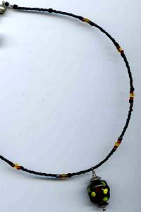 Black/Red/Yellow Bumpy Bead Necklace - EAbry