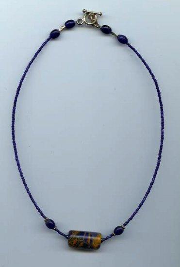 Cobalt Blue/Orange Bead Necklace - EAcbo