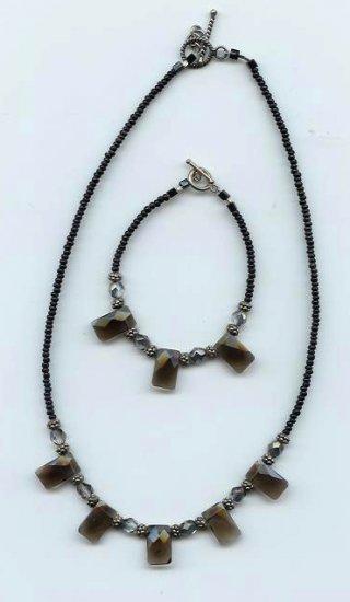 Smokey Quartz Necklace/Bracelet Set - EAsqs