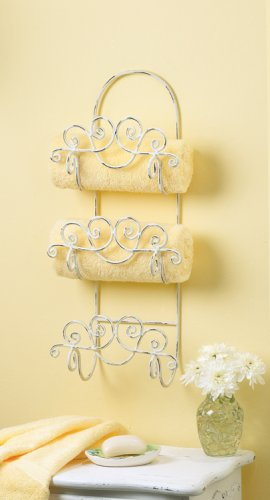 Distressed White Towel Holder - MM33588
